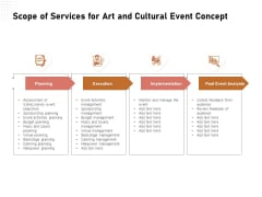 Organizing Perfect Arts Culture Festival Scope Of Services For Art And Cultural Event Concept Microsoft PDF