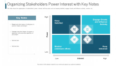 Organizing Stakeholders Power Interest With Key Notes Ppt Show PDF