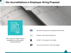 Our Accreditations In Employee Hiring Proposal Ppt PowerPoint Presentation Model Inspiration