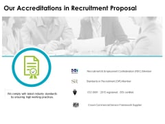 our accreditations in recruitment proposal ppt powerpoint presentation inspiration diagrams