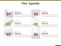 Our Agenda Ppt PowerPoint Presentation Outline Slide Portrait