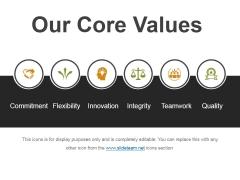Our Core Values Ppt PowerPoint Presentation Visual Aids Portfolio