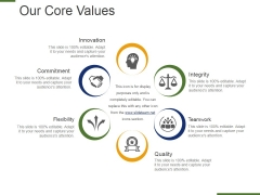 Our Core Values Template 1 Ppt PowerPoint Presentation Ideas Visual Aids