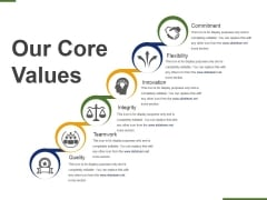 Our Core Values Template 3 Ppt PowerPoint Presentation Ideas Design Templates