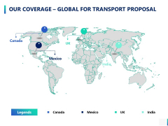 Our Coverage Global For Transport Proposal Ppt PowerPoint Presentation Ideas Icons