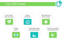 Our Csr Goals Ppt PowerPoint Presentation Example File