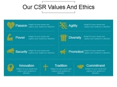 Our Csr Values And Ethics Ppt PowerPoint Presentation Gallery
