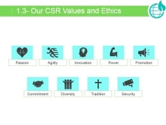 Our Csr Values And Ethics Ppt PowerPoint Presentation Ideas