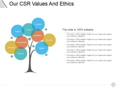 Our Csr Values And Ethics Ppt PowerPoint Presentation Inspiration Designs