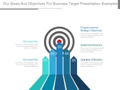 Our Goals And Objectives For Business Target Presentation Examples