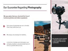 Our Guarantee Regarding Photography Ppt PowerPoint Presentation File Elements