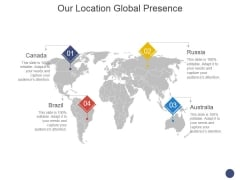 Our Location Global Presence Ppt PowerPoint Presentation Model Picture