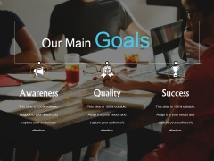 Our Main Goals Ppt PowerPoint Presentation Ideas Graphic Tips