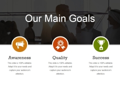 Our Main Goals Ppt PowerPoint Presentation Layouts Tips