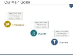 Our Main Goals Ppt PowerPoint Presentation Model Design Inspiration