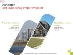 Our Major Civil Engineering Project Proposal Budget Ppt Inspiration Layout Ideas PDF