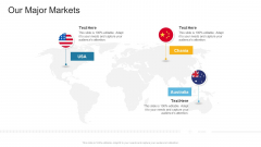 Our Major Markets Company Profile Ppt Infographic Template Styles PDF