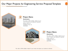 Our Major Projects For Engineering Service Proposal Template Inspiration PDF