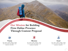 Our Mission For Building Firm Online Presence Through Content Proposal Ppt PowerPoint Presentation Show Background
