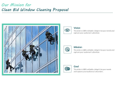 Our Mission For Clean Bid Window Cleaning Proposal Ppt Icon Background Image PDF