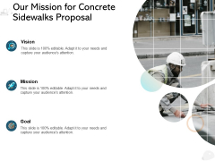 Our Mission For Concrete Sidewalks Proposal Ppt PowerPoint Presentation Gallery Slide