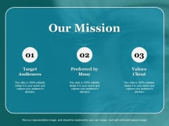 Our Mission Target Audiences Values Client Ppt PowerPoint Presentation Styles Format