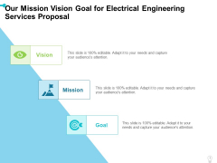 Our Mission Vision Goal For Electrical Engineering Services Proposal Ppt Icon Grid PDF