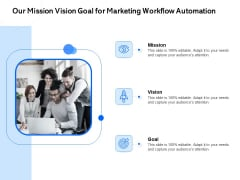 Our Mission Vision Goal For Marketing Workflow Automation Ppt PowerPoint Presentation Pictures Deck PDF
