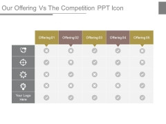 Our Offering Vs The Competition Ppt Icon