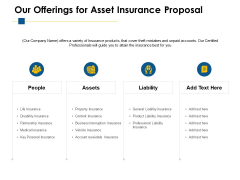 Our Offerings For Asset Insurance Proposal Ppt PowerPoint Presentation Ideas Picture
