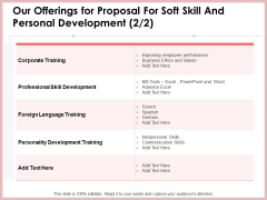 Our Offerings For Proposal For Soft Skill And Personal Development Training Clipart PDF