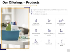 Our Offerings Products Ppt PowerPoint Presentation Outline Inspiration