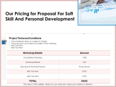 Our Pricing For Proposal For Soft Skill And Personal Development Ppt Gallery Information PDF
