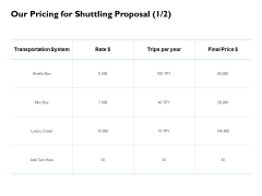 Our Pricing For Shuttling Proposal System Ppt PowerPoint Presentation Slides Graphics