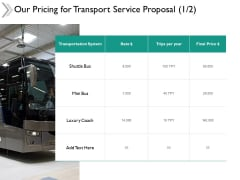 Our Pricing For Transport Service Proposal System Ppt Powerpoint Presentation Portfolio Summary