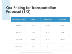 Our Pricing For Transportation Proposal Marketing Ppt PowerPoint Presentation Show Design Inspiration