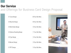 Our Service And Offerings For Business Card Design Proposal Ppt PowerPoint Presentation Pictures Maker