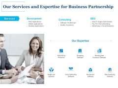 Our Services And Expertise For Business Partnership Ppt PowerPoint Presentation Infographics Maker