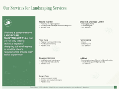 Our Services For Landscaping Services Ppt PowerPoint Presentation Professional Example