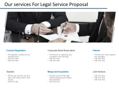 Our Services For Legal Service Proposal Ppt PowerPoint Presentation Infographics Deck
