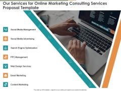 Our Services For Online Marketing Consulting Services Proposal Template Ppt Show Maker PDF