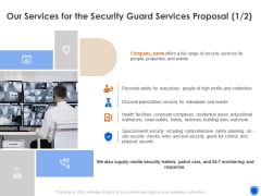 Our Services For The Security Guard Services Proposal Ppt Clipart PDF