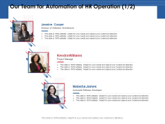 Our Team For Automation Of HR Operation Project Ppt PowerPoint Presentation Model Grid PDF