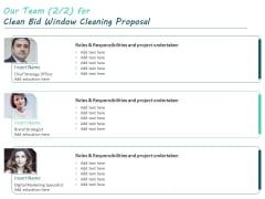 Our Team For Clean Bid Window Cleaning Proposal Ppt Outline File Formats