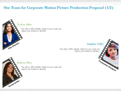 Our Team For Corporate Motion Picture Production Proposal Marketing Ppt PowerPoint Presentation Summary Graphics Design