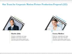 Our Team For Corporate Motion Picture Production Proposal Planning Ppt PowerPoint Presentation Portfolio Visual Aids