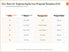 Our Team For Engineering Service Proposal Template Information PDF