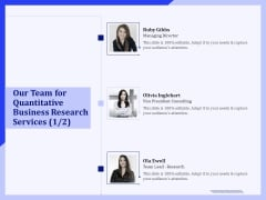 Our Team For Quantitative Business Research Services Ppt PowerPoint Presentation Styles Designs Download PDF