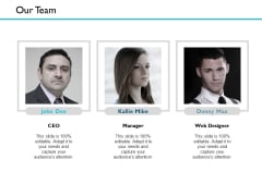 Our Team Introduction Ppt PowerPoint Presentation Slides Example Introduction