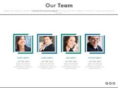 Our Team Photos With Designation Powerpoint Slides